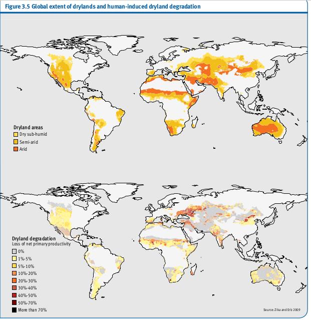 Étendue mondiale des zones arides et anthropiques de dégradation des terres arides