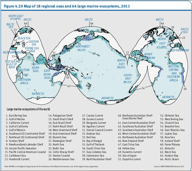 Carte de 18 régions marines  et des 64 grands écosystèmes marins, 2011