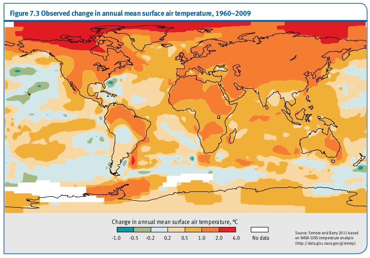 Changements observés dans la température annuelle moyenne de l'air de surface, 1960-2009