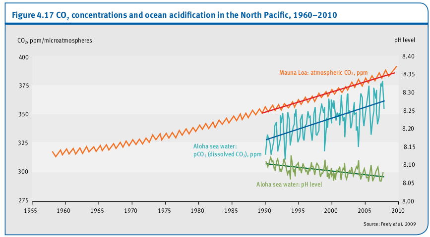 Concentrations de CO2 et l'acidification des océans dans le Pacifique Nord, 1960-2010