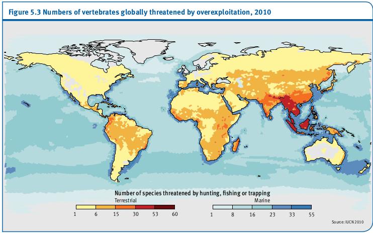 Le nombre de vertébrés menacées au plan mondial par la surexploitation, 2010