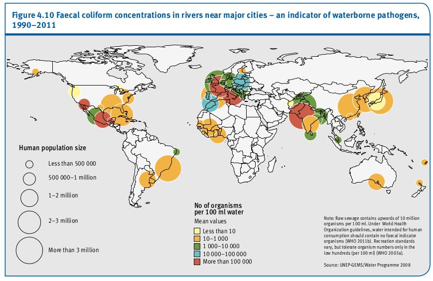 Les concentrations de coliformes fécaux dans les rivières près des grandes villes - un indicateur d'agents pathogènes d'origine hydrique