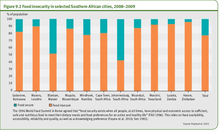 L'insécurité alimentaire dans certaines villes d'Afrique australe, 2008-2009