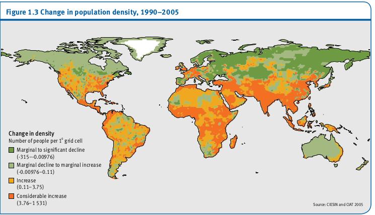 Variation de la densité de la population, 1990-2005