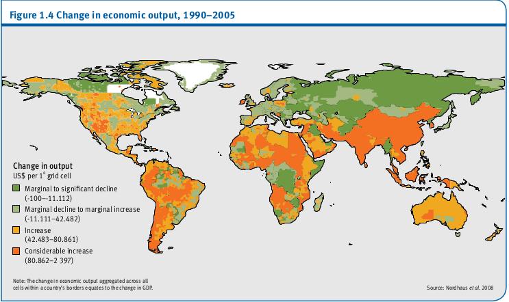 Variation de la production économique, 1990-2005